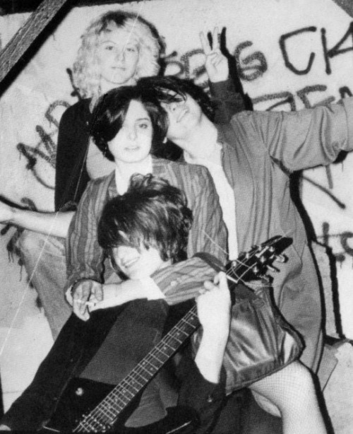 Red Cross / Redd Kross, Born Innocent era lineup: Janet Housden, Tracy Lea, Jeff McDonald, Steven McDonald