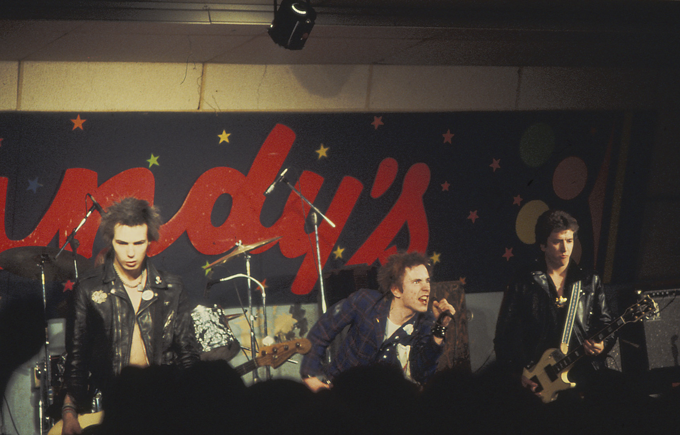 Sex Pistols onstage at Randy's Longhorn in 1978, photo by Roberta Bayley.