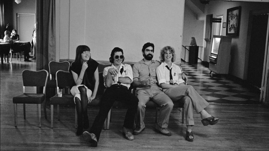 The core Slash team of, from left, Philomena Winstanley, Claude Bessy, Steve Samiof, and Melanie Nissen, at a benefit for the magazine in 1977. Courtesy of Hat & Beard.