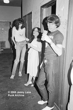Genny Body backstage at the Whisky in Feb 1977 with Joey Ramone and Arturo Vega.
