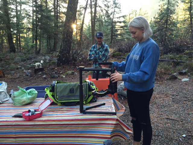 Katie is busy setting up the Ronin while Penny poses in the background for an unknown photographer.