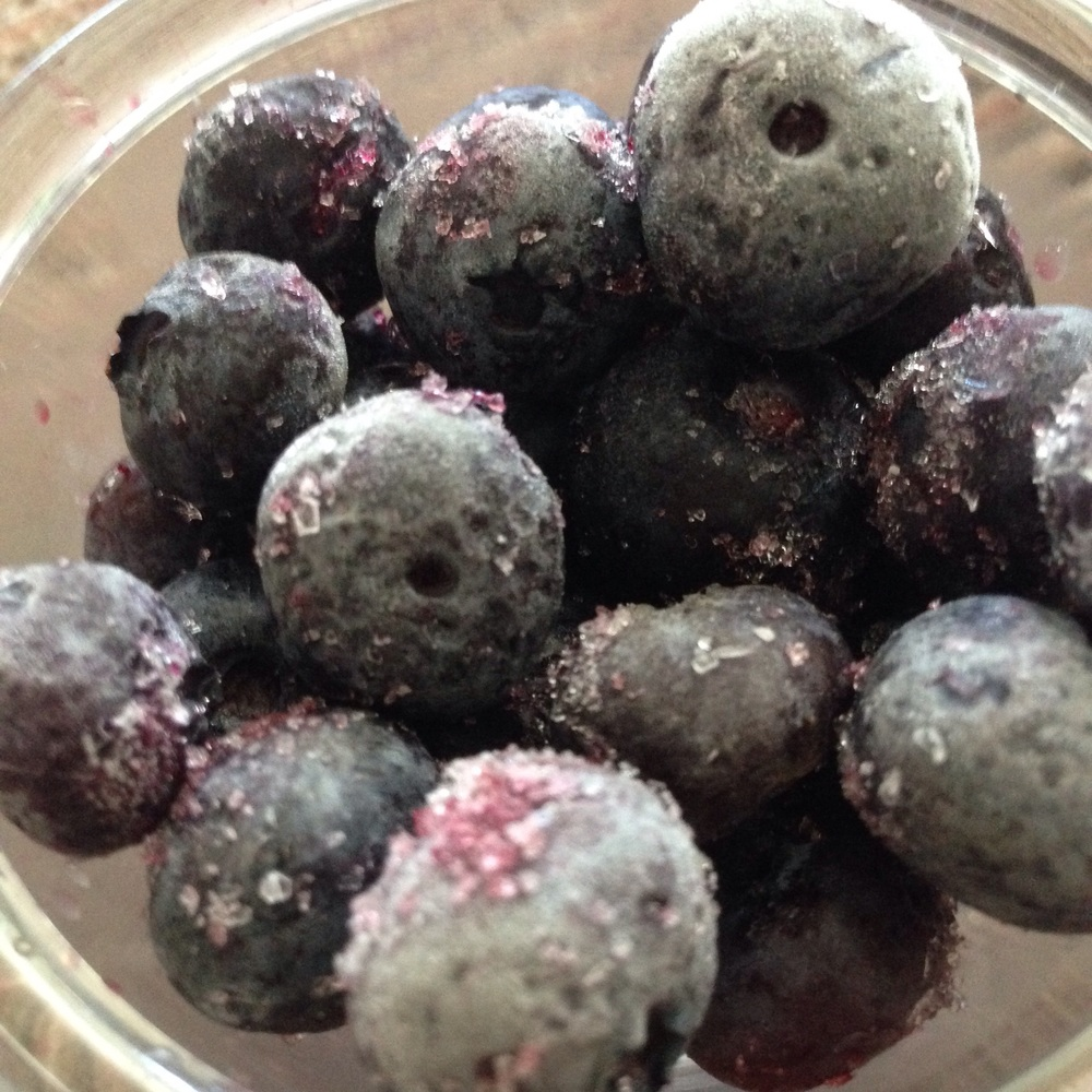 My snack, a bowl of frozen blueberries.