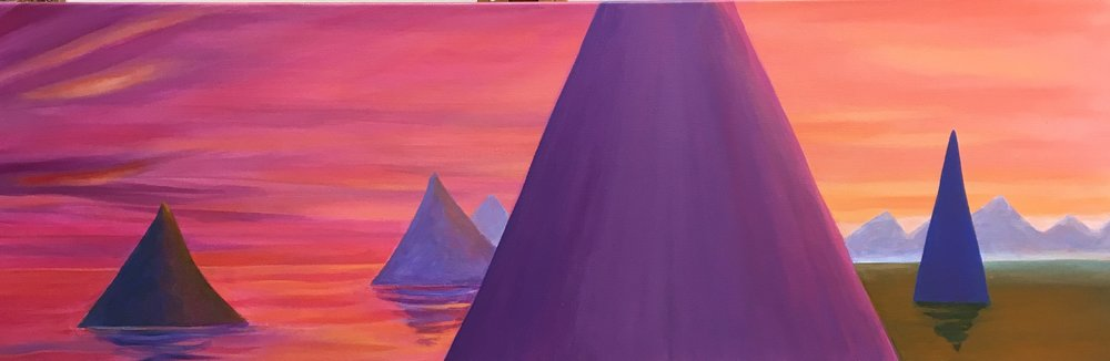 "The Valleys Fill First by Angel Ambrose 12"" x 36"" $1,200"