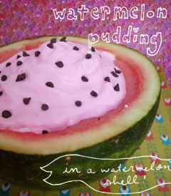 Watermelon pudding served in a watermelon shell