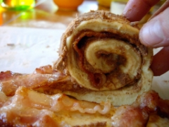 Bacon filled cinnamon rolls