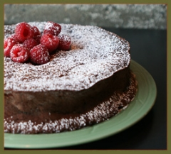 Bittersweet chocolate gateau