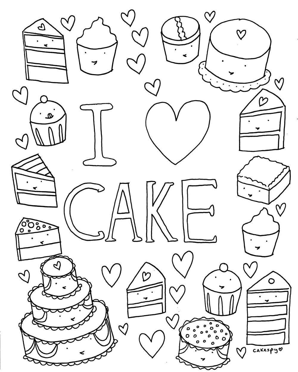free coloring book page i love cake cakespy