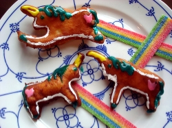 Unicorn shaped doughnuts