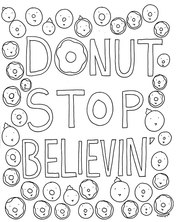 free coloring book page for grown ups donut stop believin cakespy - Free Coloring Book Pages