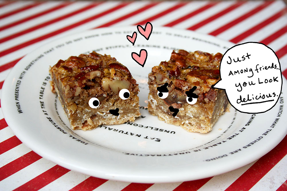 ... Friends: Pecan Pie Bars with an Oatmeal Chocolate Chip Cookie Crust
