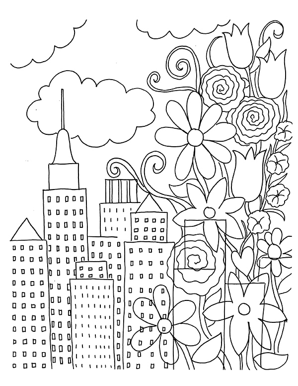 free coloring book page download urban flowers