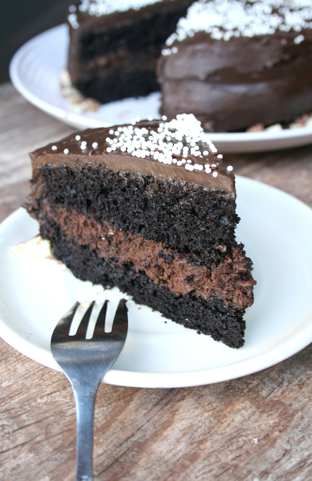 Two layer chocolate mousse cake