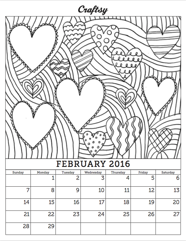 Free Download: February Coloring Book Calendar Page! — CakeSpy