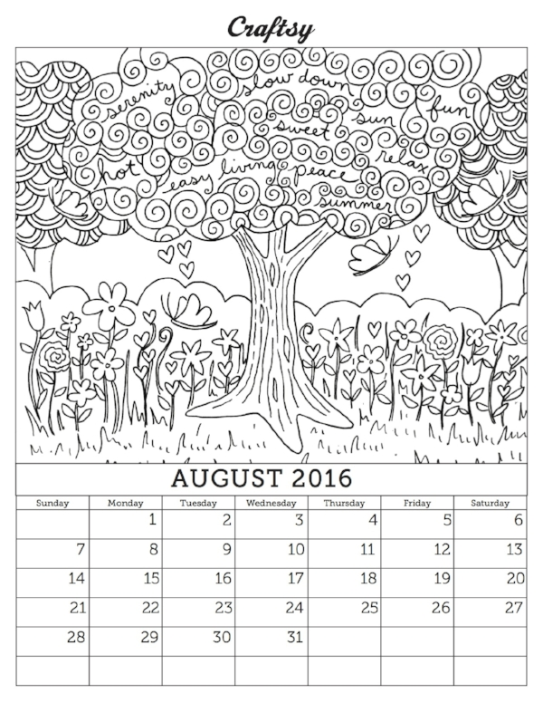 Craftsys Latest Calendar Page Coloring Book Download Is Available Craftsy