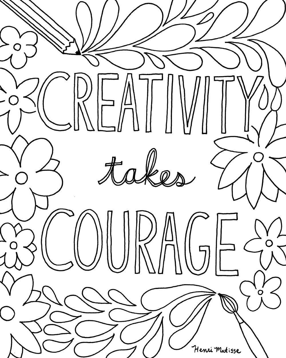 Coloring book download zip - Coloring Book Page Download Creativity Takes Courage Free