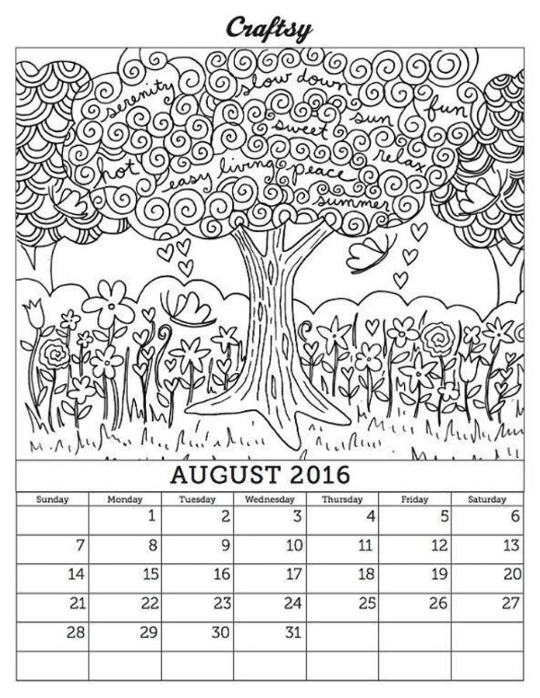 I'm thinking of warmer times. Revisit my august 2016 coloring book calendar page on Craftsy!