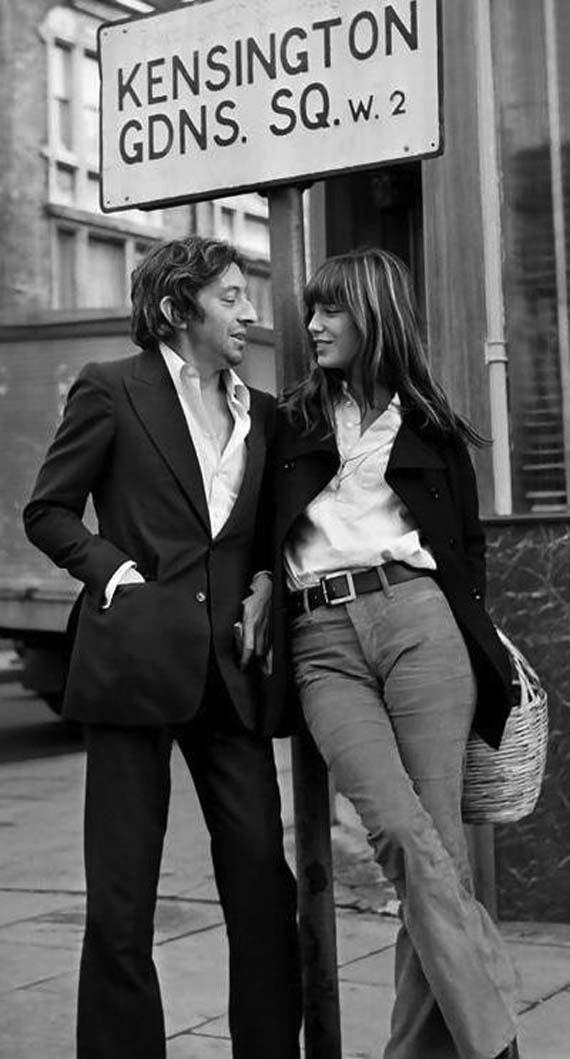 Jane Birkin su Serge Gainsbourg. Šiaip tai Jane, iki garsiosios rankinės sukūrimo, pavadintos jos garbei, nesiskyrė su savo pintu krepšiu.