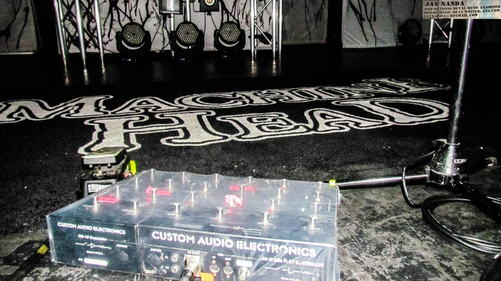 """The stage awaits for the commencement of """"An Evening With Machine Head."""""""