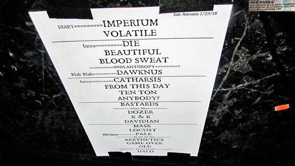 The setlist.