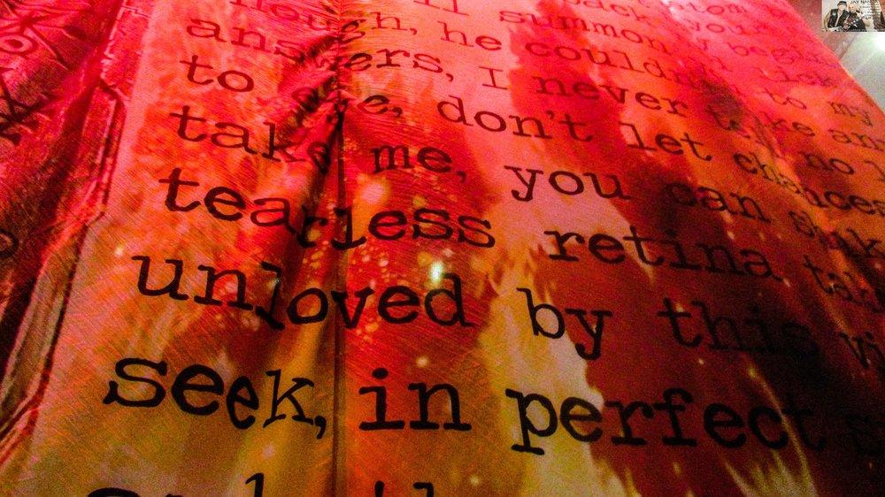The curtain highlights lyrics of Judas Priest songs spanning a 44-year career.