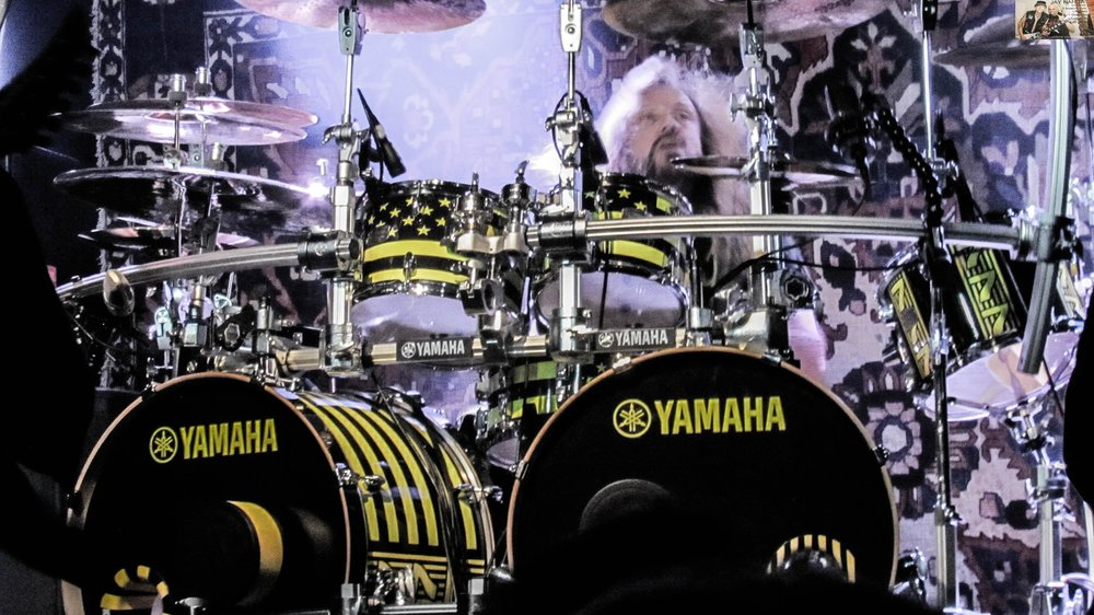 Robert Sweet spent 30 years playing his drums while facing the side of the stage but in recent years switched to the conventional view that allows him to see the crowd entirely.