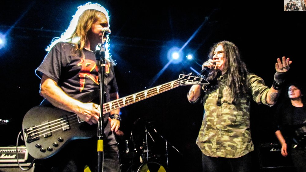 Megadeth bassist David Ellefson and Helstar vocalist James Rivera reminisce about their 2006 Killing Machine record  Metalmorphosis  during Ellefson's Basstory tour, which included jamming with local tribute band Rust In Peace, on Friday night at Fitzgerald's.