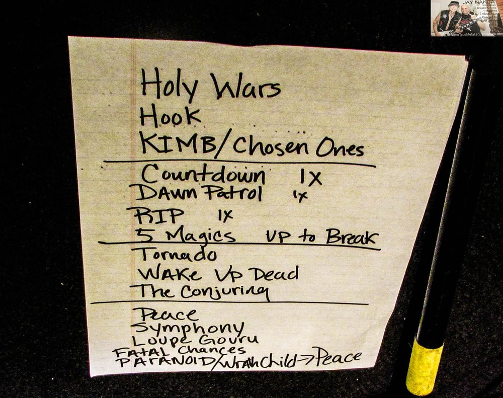 """The setlist included rarely played, or no longer played Megadeth tracks such as """"Killing is My Business . . . and Business is Good"""" and """"The Conjuring."""""""