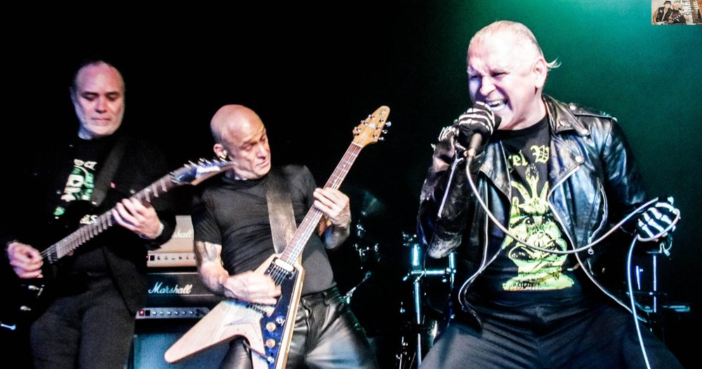 """Art Villareal (from left), Bob """"Bob Dog"""" Catlin and Militia vocalist Mike Soliz perform during the South Texas Legion: Legends of the Great Texas Metal Era gathering the night before Thanksgiving at Fitzgerald's."""