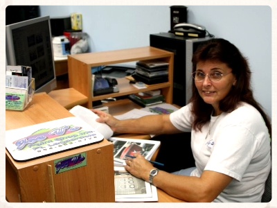Wendy Vilhena at The Office of Joe V's Yacht Refinishing in Fort Lauderdale, Florida