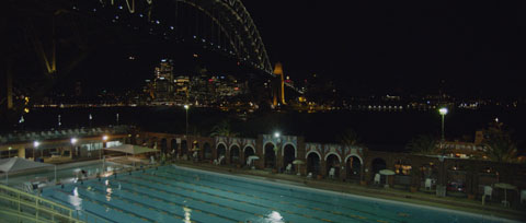 Millers Point Sydney Pool over looking the Sydney Harbour Bridge at night - Transgrid Make It Happen, Staff Recruitment Video ProductionVideo prduction, Australian Cinematography Award winning project