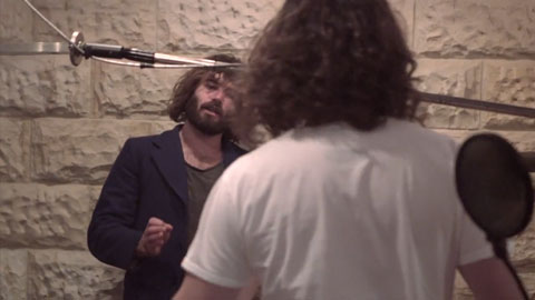 Angus Stone chatting with his engineer - Angus Stone Guiness Arthur's Day Film production Toby heslop