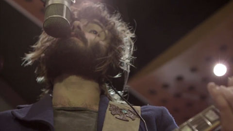 Angus Stone singing in studio - Angus Stone Guiness Arthur's Day Film production Toby heslop