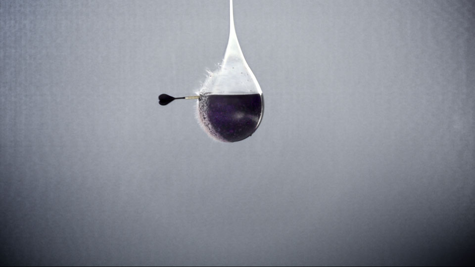 A Dart splitting a balloon full of blueberries - Wrigley's 5 Gum Slow motion video experiments, DoP Toby Heslop
