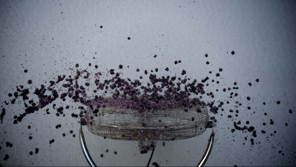 Thousands of blueberries dropped onto an industrial fan - Wrigley's 5 Gum Slow motion video experiments, DoP Toby Heslop
