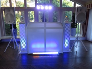 The all new white set up with up lighting to match your colour scheme