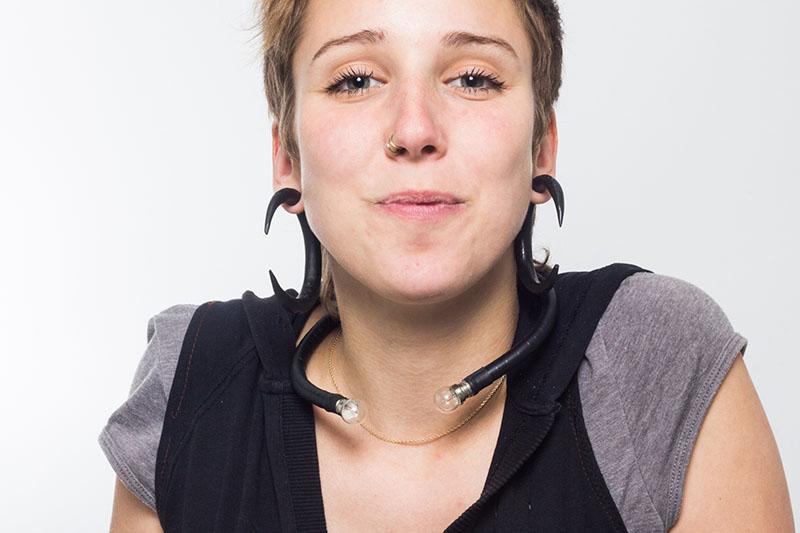 Julia inside studio in Valencia, Spain