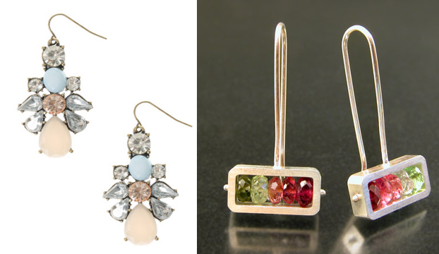 A pair of earrings from Claire's on the left, and a pair of Ashka Dymel earrings on the right that feature garnet and pink and green tourmaline.