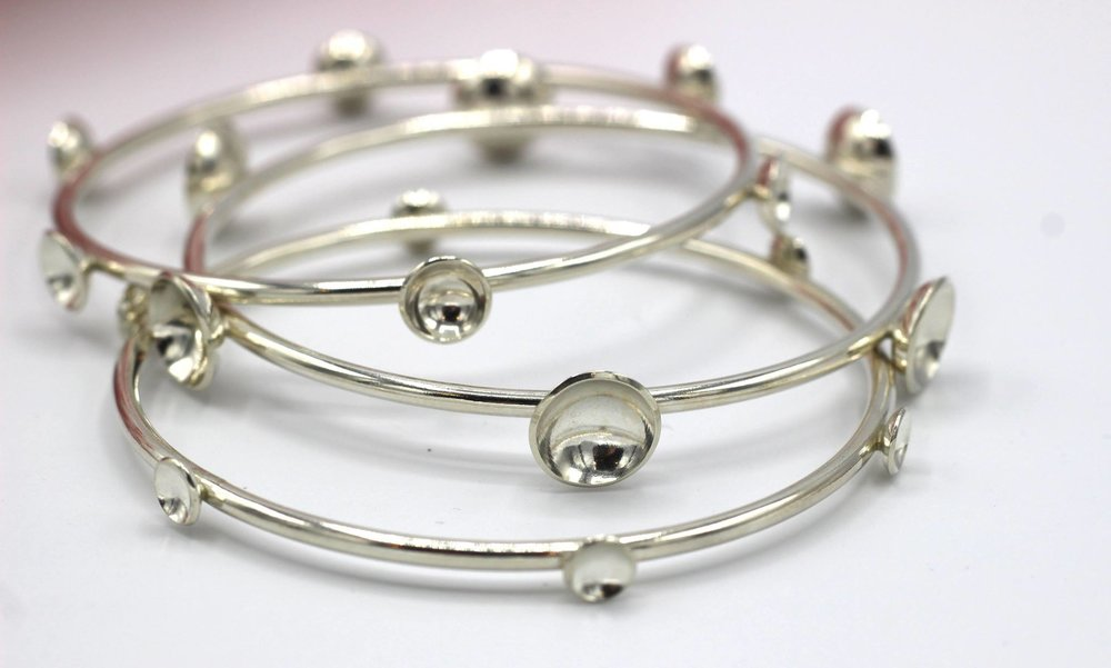 Sterling silver dome bangle bracelets