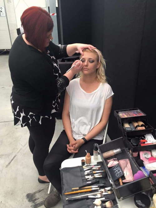 Make up before the show.