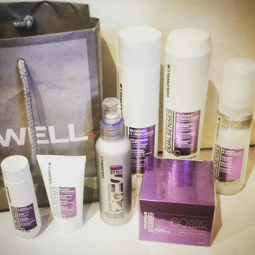 Goldwell Dual Senses Blondes and Highlights 60 Second Treatment, Anti-Brassiness Shampoo, Anti-Brassiness Conditioner, Serum Spray, 60 Second Treatment, Sleek Perfection Thermal Spray Serum.