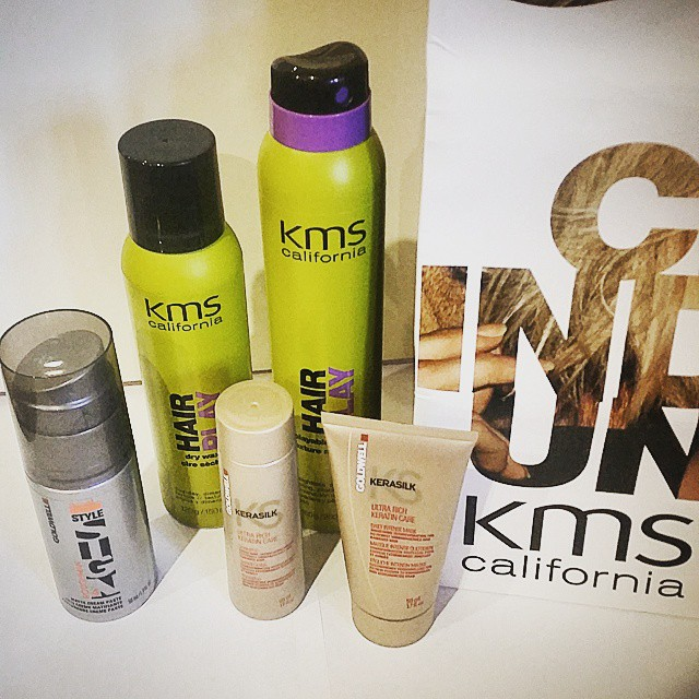 KMS California Hair Play Playable Texture and Hair Play Dry Wax.  Goldwell Matte Cream Paste, Kerasilk Keratin Care Daily Intense Mask, and Keratin Care Shampoo.