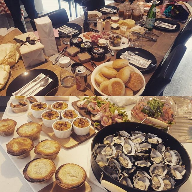 Mothers Day Luncheon. 😃😍❤✌🏻 #mothersday #lunch #seafood #prawns #oysters #pie #braisedbeefcheeks #beefcheeks #macandcheese #cheese #brie #salmon #pumpkinsoup #omnomnom