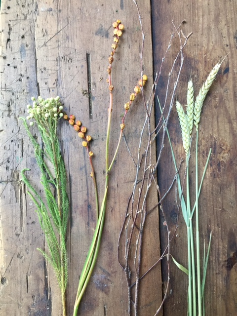 Crocosmia, birch twigs and wheat