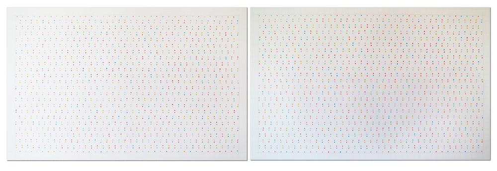 Centimeter 27 . Prismacolor and pencil on paper. Diptych, each drawing 9 x 15""