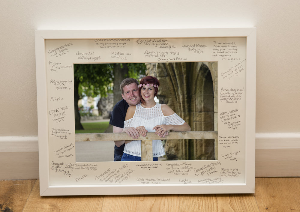 Signing frame Harrogate Wedding Photographer