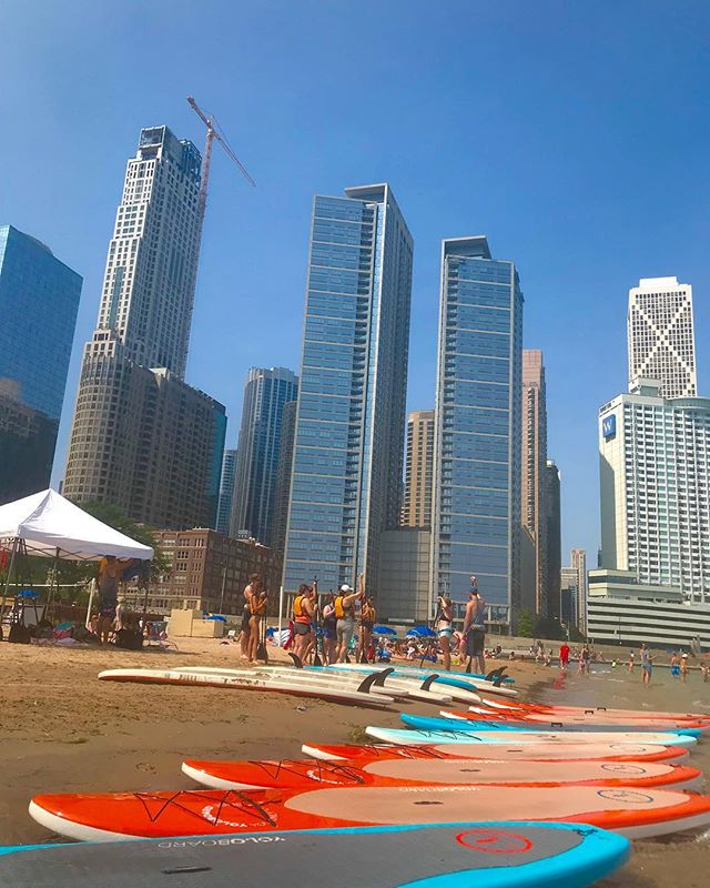 SUP Happy Hour. We are open FRIDAY at our OHIO STREET BEACH location. $20 SUP Rentals. 3 PM - 7 PM. #chicago
