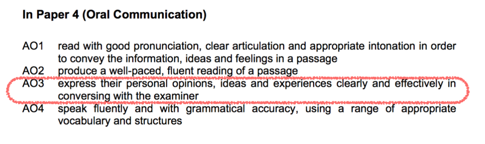 Assessment objectives from  SEAB .