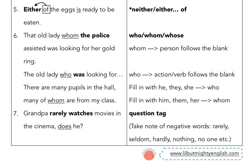 Psle English 2016 Printable Ultimate Grammar Amp Synthesis