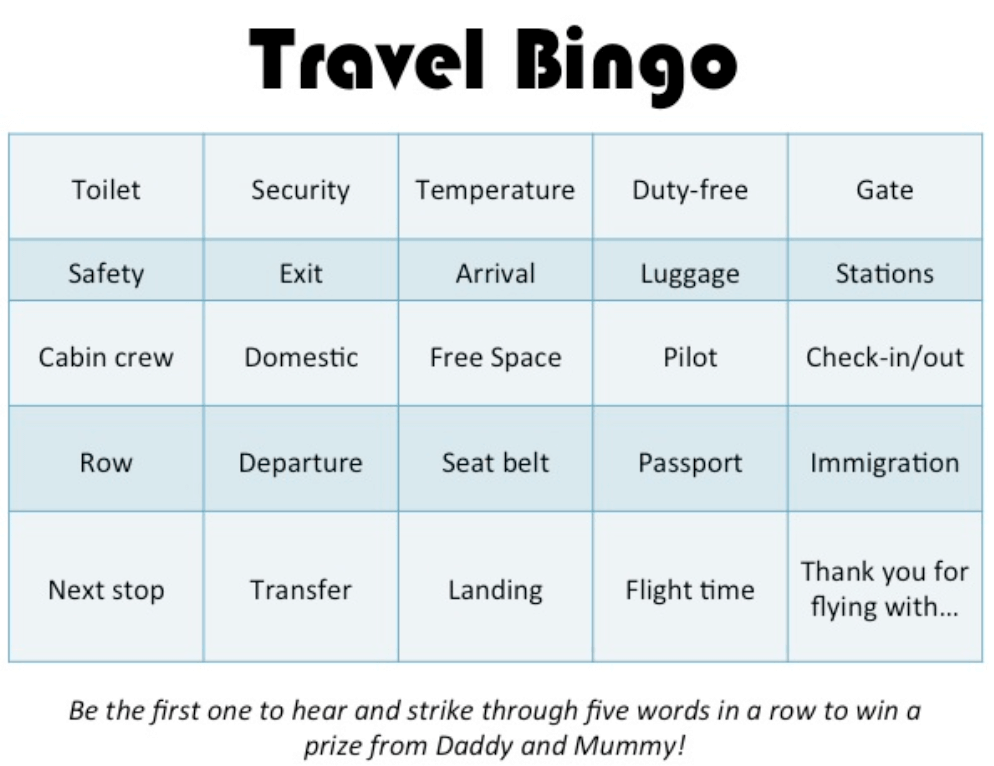 Lil' but Mighty Travel Bingo!