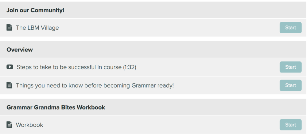 Grammar Grandma Course Curriculum
